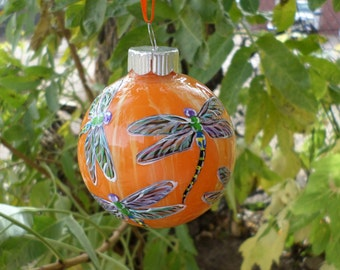 hand painted ornament, glass dragonfly ornament , swirled orange peach background no257