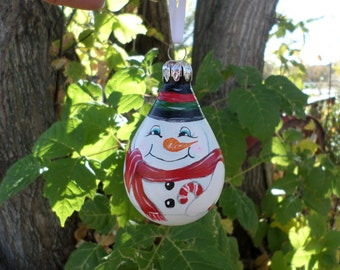 New Listing Hand painted snowman ornament no282