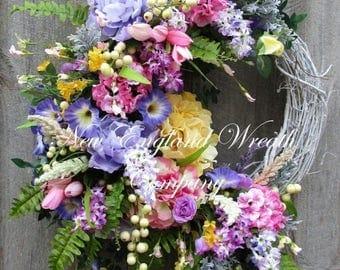 ON SALE Floral Wreath, Spring Wreath, Elegant Summer Wreath, Mother's Day Gift, XL Designer Wreath, Victorian Garden Wreath, Country French