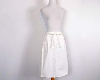Vintage Ivory Wrap Skirt -  70s A Line Skirt - Size M/L