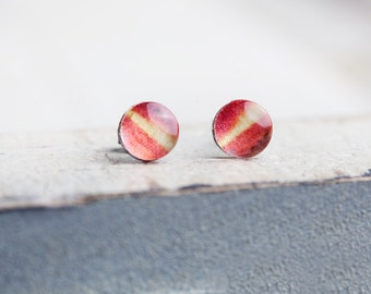 Orange Stud Earrings, Coral, Stud Earrings, Tulip, Coral Stud Earrings, Orange Earrings, Small Orange Earrings, Tulip Earrings, Flower