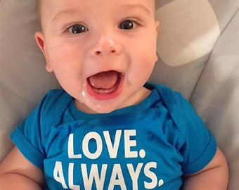 Infant Bodysuit - Love Always - Proceeds to Charity - Gender Neutral Baby Clothes - Blue Baby Bodysuit - Baby Shower Gift - Unisex Baby