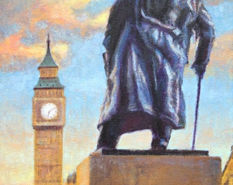 """ON SALE, London Painting, Original Oil Painting, 14 x 11"""", """"Winston Churchill Statue Faces off the Big Ben"""" by Kim Stenberg, Ready to Hang"""
