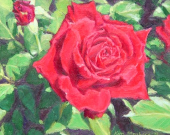 "ON SALE, Red Rose Painting, Original Oil Floral Painting, 8 x 8"", ""Regal Rose"" by Kim Stenberg, Contemporary Reaslism"