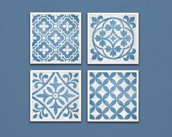 Digital geometric pattern, set of 4, 8x8 printable art. Instant download, blue gray decor. Blue gray wall art, gray blue printable pattern