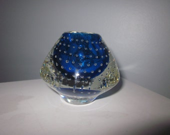 Blue controlled Bubble vase paperweight,paper,weight,Art glass