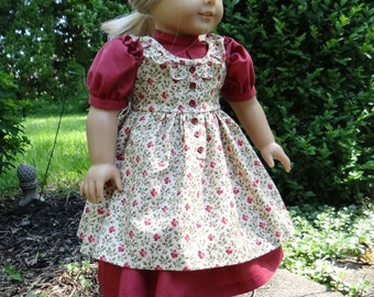 Prairie Ruffles Pinafore and Dress for American Girl or similar 18 inch doll