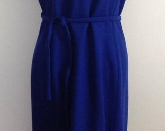 1960's Royal blue wool short sleeve dress