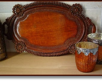 Carved Wooden Tray, Superb Oval Vintage Carved, Pierced Wooden Serving Tray, Display Tray, Vintage Treen