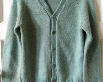 Vintage 1950s Style Hand Knitted Wool Cardigan Sweater  S - XS