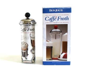 Glass Milk Frother Bonjour Caffe Froth for Cappuccinos, Lattes, Mochas