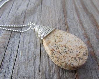 Jasper Necklace, scenic jasper, tear drop, wire wrapped pendant