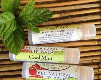 THREE Cool Mint Lip Balms-Organic Beeswax-Made in Hawaii