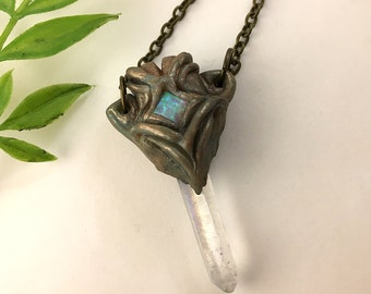 Opal Treasure  - Clear Rainbow Aura Quartz Necklace  - Steampunk Clay & Crystal