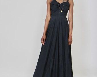1940's Vintage Black Full Lenght Dress