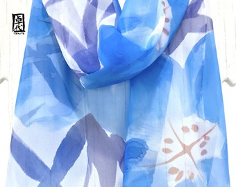 Summer Floral Scarf, Silk Summer Scarf, Scarf for Wife, Handpainted Scarf, Azure Blue Evening Primroses Scarf, 11x60 inches, Made to order