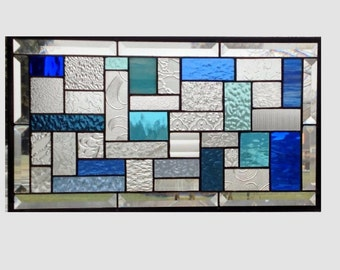 Bevel Stained glass panel window hanging blue and clear geometric stained glass window panel  suncatcher 0196 18 1/2 x 10 1/2