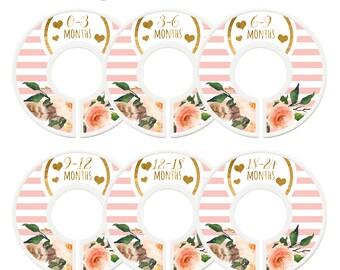Closet Dividers, Assembled, Baby Girl Closet Divider, Girl Closet Organizers, Pink, Gold, Flowers, Baby Shower Gift, Pink Gold Nursery Decor