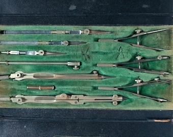 Vintage drafting tool kit, Germany, engineering tools, Soellner architectural drafting tools
