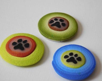 Refrigerator Magnets, polymer clay paw print kitchen magnets, set of 3
