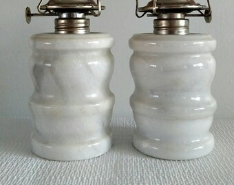Marble Oil Lamps - Set of Two
