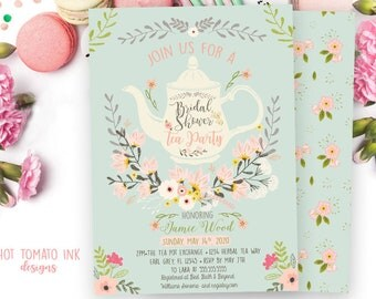 Bridal Tea- Bridal shower tea Party Invitation-Wedding shower -Tea pot invitation-Tea Invitation-Floral Invitation-Mint and Pink-Printable