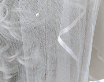 Gently Used Bridal Veil - Two Tiers of Delicate Satin Ribbon-Trimmed Pearl Flocked Tulle - Excellent Condition!