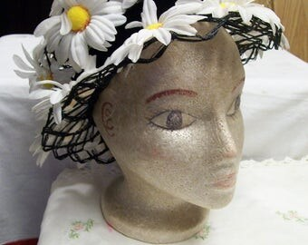 Vintage Easter Bonnet Mr John Mid Century Daisy Hat Church Easter Garden Wedding White Daisies