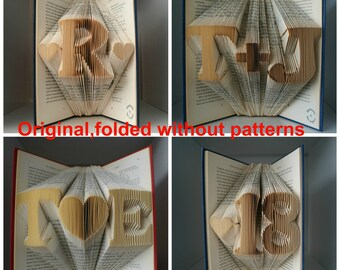 Real Folded Book Art-Gift for love ones-Regalo di nozze-Paper Anniversary-wedding decor-gift wrapped