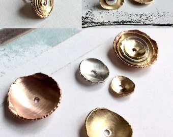 Rose Gold Ear Jacket, Gold Earring Jacket, Silver Ear Jacket, Earring Jackets, Stud Ear Jacket, Bronze Ear Jacket, Hammered Ear Jacket