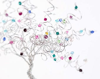 Mothers Day Family Tree Wire Art Gem Tree Birthstone Swarovski Crystal Tree Sculpture Mothers Day Grandmother Gift Custom Geneology