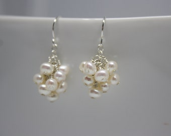 White Pearl Earrings, Bridal or Bridesmaid Wedding Jewelry, Ready to Ship