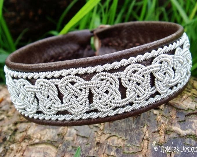 Norse Viking Bracelet Leather Cuff BEOWULF for real Vikings and Shieldmaidens :) Antique brown with Pewter braids Handmade to your wishes