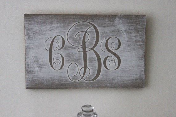 Personalized Monogram Pine Wood Wall Art