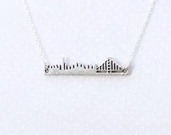 City By The Bay pendant necklace, cityscape, landscape, handcut, gift, travel jewelry