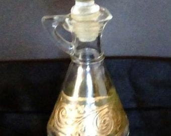 Vintage Culver Toledo Oil/Vinegar Bottle w/Lid, Glassware