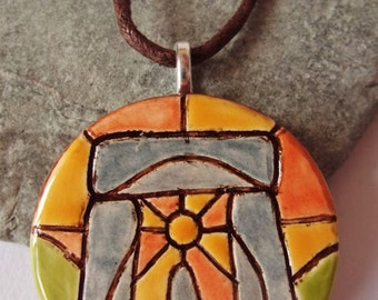 Ceramic Pottery Stonehenge Pendant Necklace, Stonehenge Jewellery, Summer Solstice, British Ancient Landscape, Druid Jewelry, Pagan Jewelry