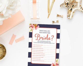 Navy and Coral Bridal Shower Games How Well Do You Know The Bride To Be Game, Printable Bridal Shower Who Knows the Bride Best Game BR13a