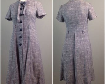 Vintage 1950s 1960s Purple and White Flecked Button Up Day Dress / Women's XS / 50s Short Sleeve Rockabilly New Look Dress