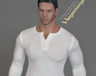 1/6th scale XXL white henley shirt for: Hot Toys TTM 20 size bigger action figures and male fashion dolls