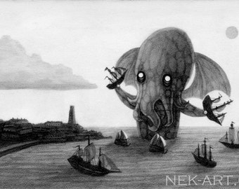 "Inkjet Print of Original Graphite Drawing ""Bath Time With Cthulhu"""