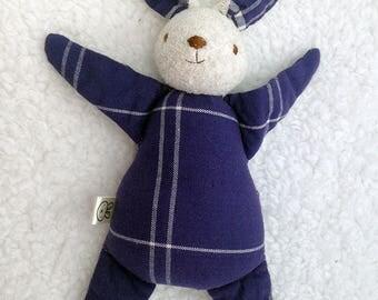 navy bunny rabbit toy, rag doll, stuffed animal, baby shower gift