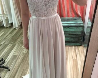 Bonnie Wedding Dress // Chiffon Side Slit and Double lace Tank style top// Blush Wedding Dress