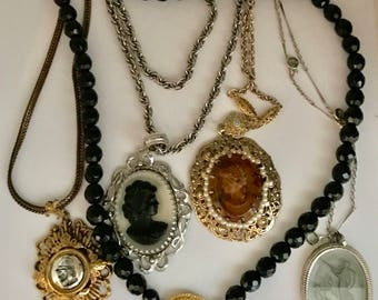 Faux CAMEO Necklace Jewelry Lot COSTUME Intaglio Vintage Whiting Davis & More