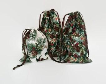 3 Christmas Greenery Drawstring Fabric Gift Bag Upcycled, Reusable