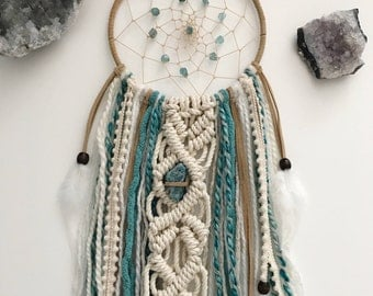 Blue Dream Catcher // Macrame Boho Wall Art Decor, Brown Cream Teal Turquoise Yarn, White Feather, Raw Crystal Apatite Stones, Boys Nursery