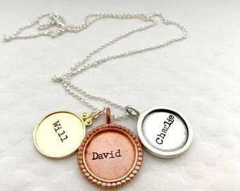 Mixed Metal Kid's Name Necklace - Mother's Day Gift Ideas - Unique Trendy Mom Jewelry - Personalized Name Charms - The Charmed Wife -