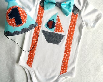 Ship Ahoy Nautical Birthday Boy 1st Birthday Party Cake Smash Outfit All In One One Piece Bodysuit