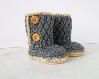 Crochet Pattern 107  - Booties Crochet Pattern - Crochet Booties Pattern for Two-Button Toddler Booties Crochet Boot Pattern Slipper Pattern