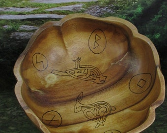 Large Norse Bowli, Blot Blessing Bowl Ostara & Eggs, Blot Bowl, Asatru Ritual Bowl, Asatru Blessing Bowl, Viking Blessing Bowl, Viking Bowli